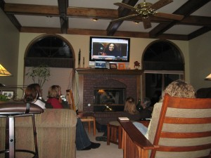 Skyping into a book club in Omaha, NB.  That's me on the TV!